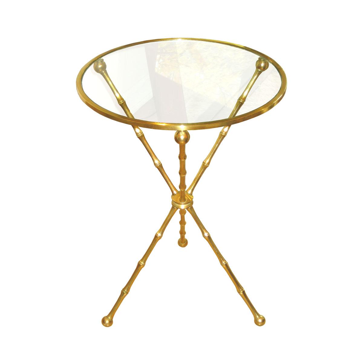Single Brass Faux Bamboo Tripod Side Table With Glass Top Side - Bamboo end table glass top