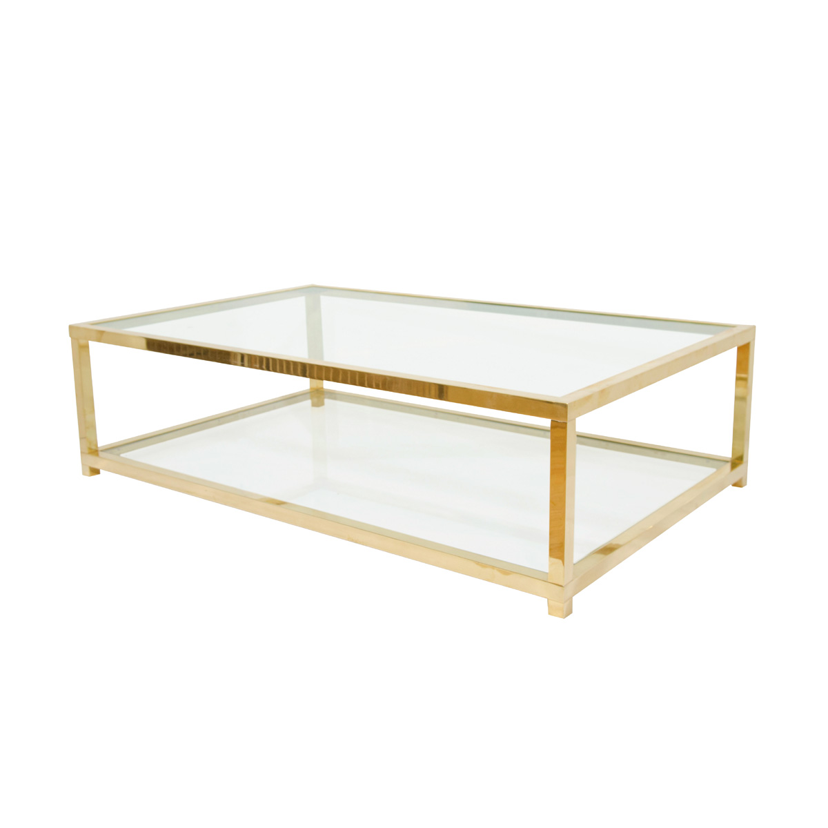 Antique Brass And Glass Round Coffee Table: Two-tiered Brass And Glass Coffee Table