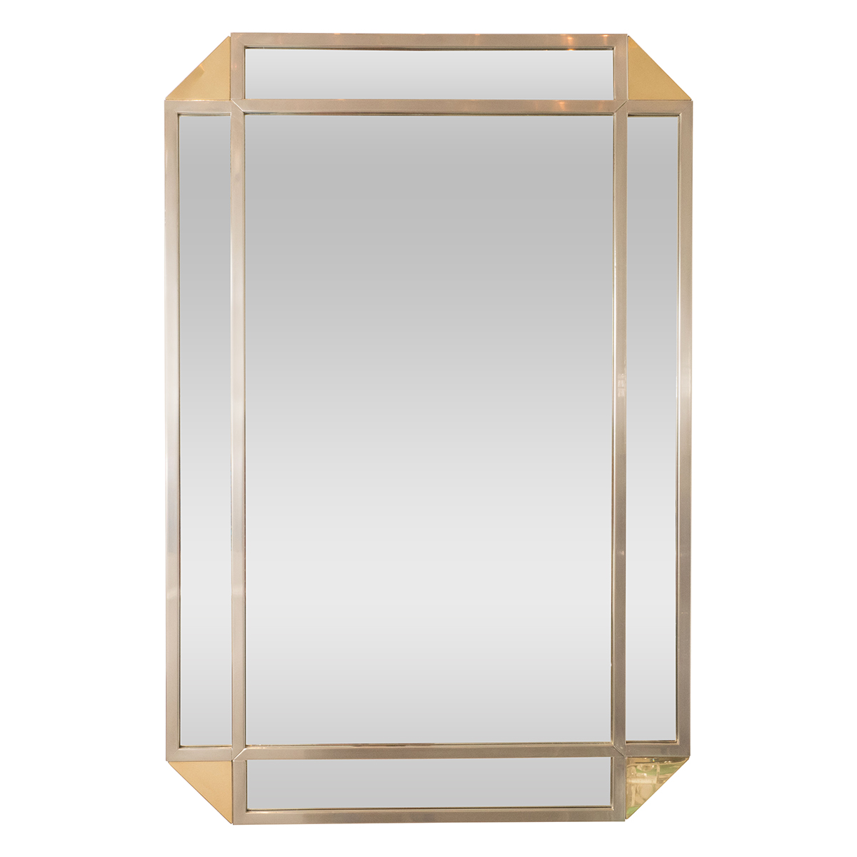 Rectangular Mirror With Decorative Nickel And Mirrored