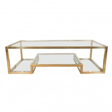 Bon Two Tier Brass Coffee Table With Clear Glass Top